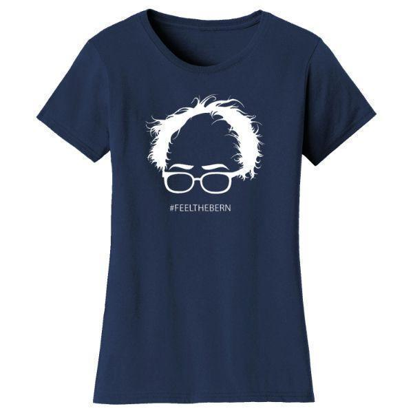 "Daily Steals-Women's Bernie Sanders ""Feel The Bern"" T-shirts-Women's Apparel-Navy-L-"