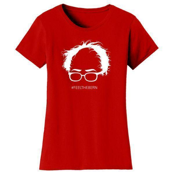 "Daily Steals-Women's Bernie Sanders ""Feel The Bern"" T-shirts-Women's Apparel-Red-S-"