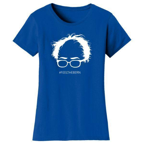 "Daily Steals-Women's Bernie Sanders ""Feel The Bern"" T-shirts-Women's Apparel-Royal Blue-S-"