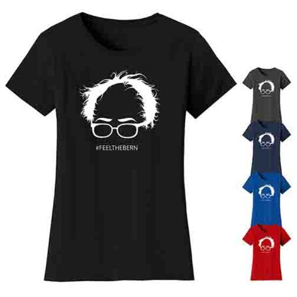 "Daily Steals-Women's Bernie Sanders ""Feel The Bern"" T-shirts-Women's Apparel-Black-S-"