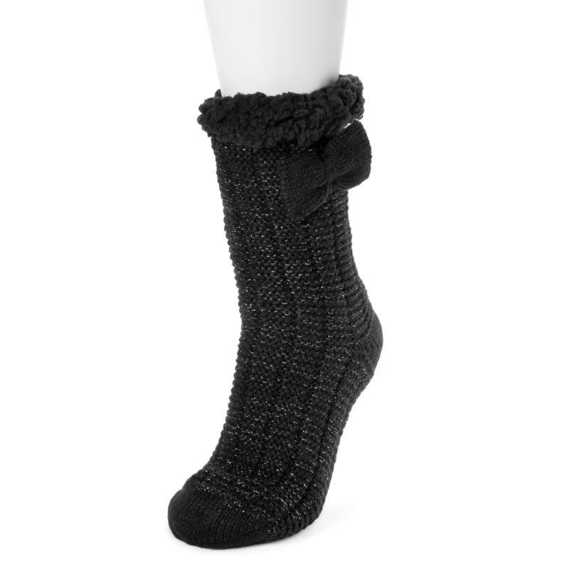 Women's Betsey Johnson Cabin Socks-Black Sparkle-L/XL (8-10)-Daily Steals