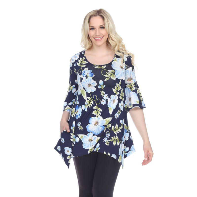 Women's Blanche Tunic Top by Whitemark-Blue Flower-M-Daily Steals