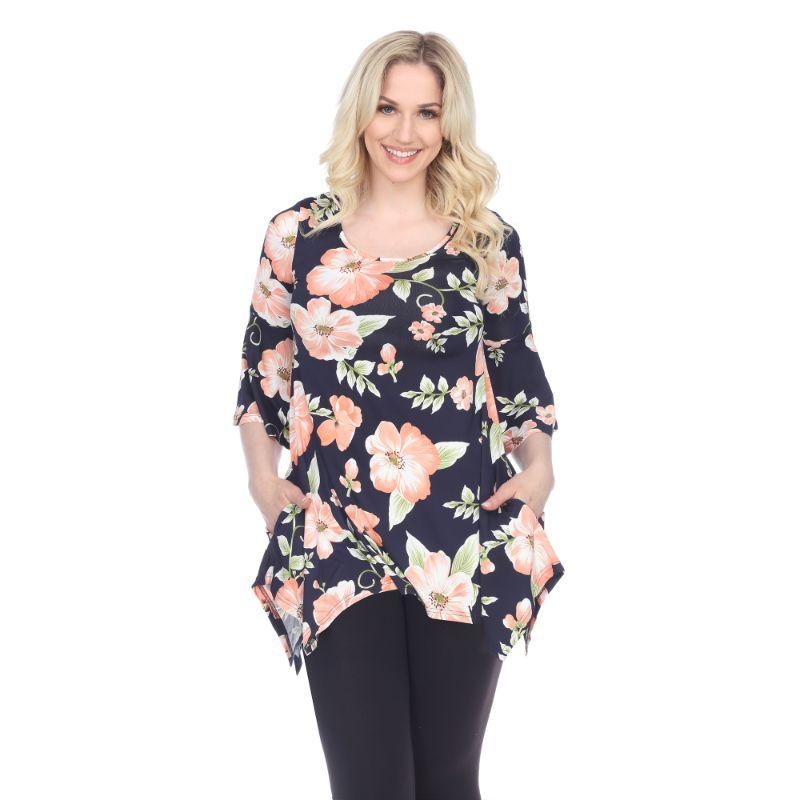 Women's Blanche Tunic Top by Whitemark-Peach Flower-XL-Daily Steals