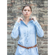 Womens Casual Button Up Denim Shirt-Baby Blue-S-