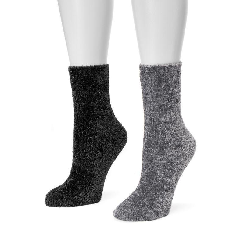 Women's Chenille Boot Socks by Muk Luks - 2 Pack-Grey/Black-Daily Steals