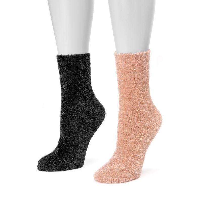 Women's Chenille Boot Socks by Muk Luks - 2 Pack-Pink/Black-Daily Steals