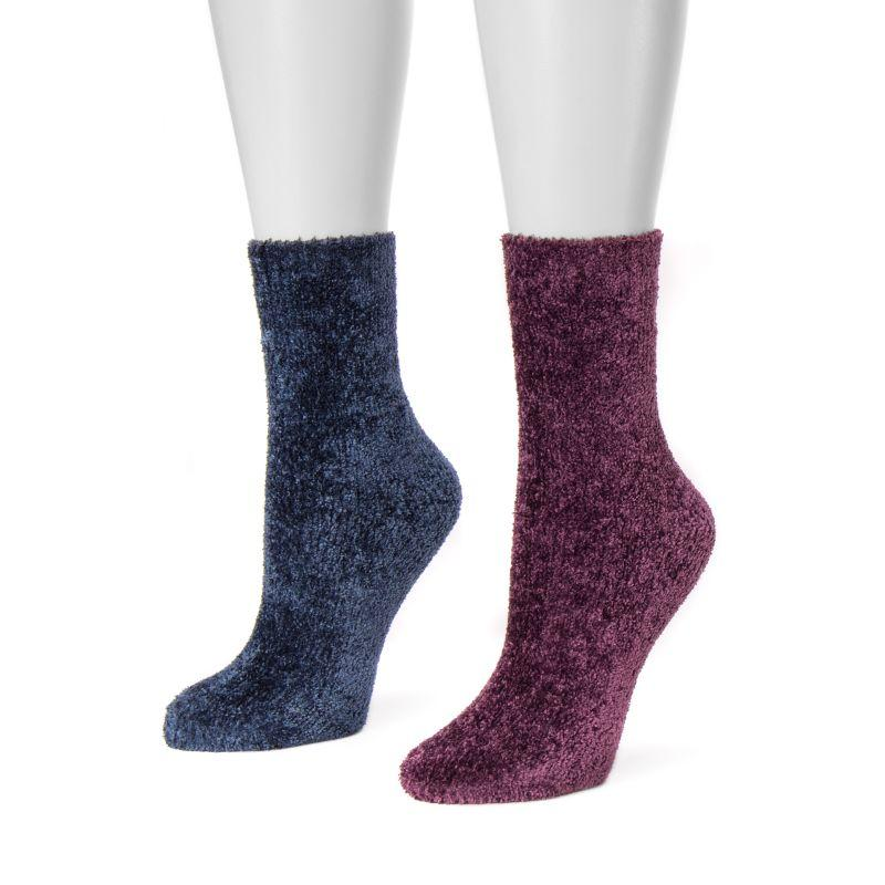 Women's Chenille Boot Socks by Muk Luks - 2 Pack-Purple/Navy-Daily Steals