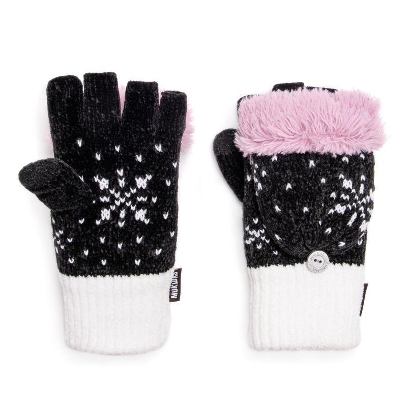 Women's Chenille Flip Mittens by Muk Luks-Daily Steals