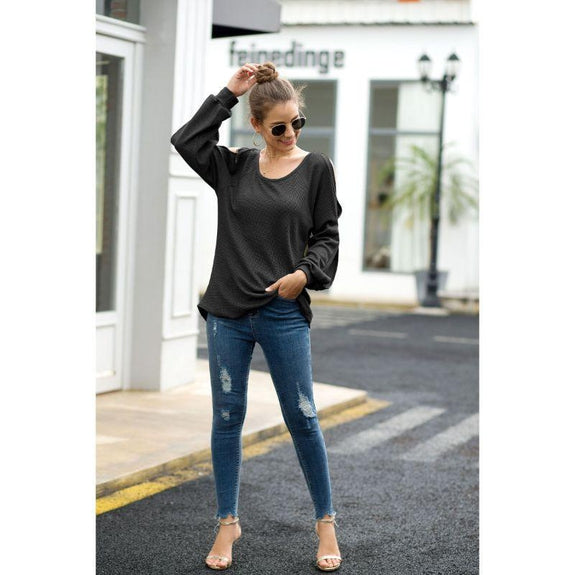 Women's Cold Shoulder Lantern Sleeve Waffle Knit Top-Daily Steals