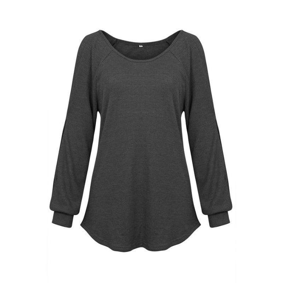 Women's Cold Shoulder Lantern Sleeve Waffle Knit Top-Black-L-Daily Steals
