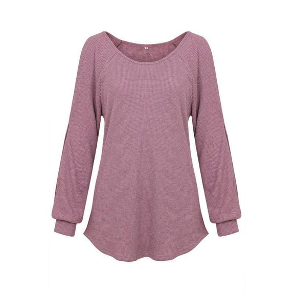 Women's Cold Shoulder Lantern Sleeve Waffle Knit Top-Purple-XL-Daily Steals