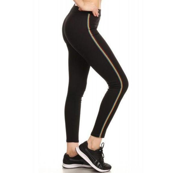 Daily Steals-Women's Cotton Blend Side Stripe Leggings-Women's Apparel-Black-Style 1-Small/Medium
