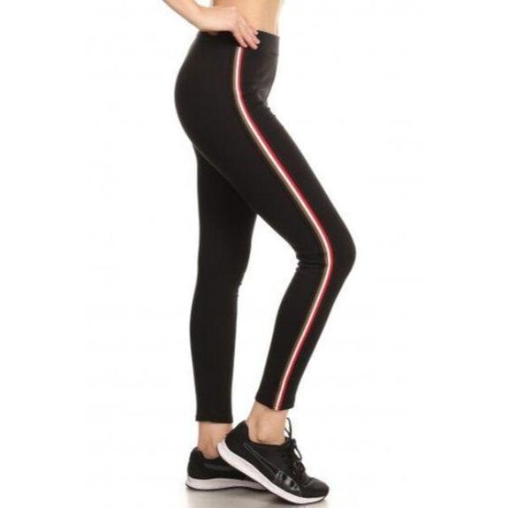 Daily Steals-Women's Cotton Blend Side Stripe Leggings-Women's Apparel-Black-Style 2-Small/Medium
