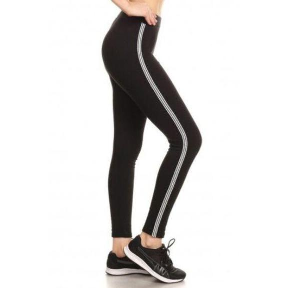 Daily Steals-Women's Cotton Blend Side Stripe Leggings-Women's Apparel-Black-Style 3-Small/Medium