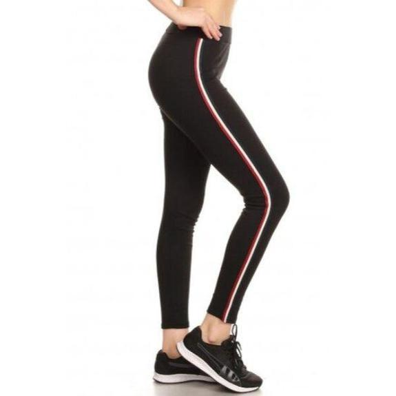Daily Steals-Women's Cotton Blend Side Stripe Leggings-Women's Apparel-Black-Style 4-Small/Medium