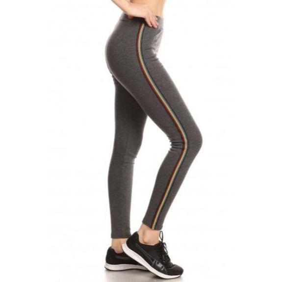 Daily Steals-Women's Cotton Blend Side Stripe Leggings-Women's Apparel-Charcoal-Style 1-Small/Medium