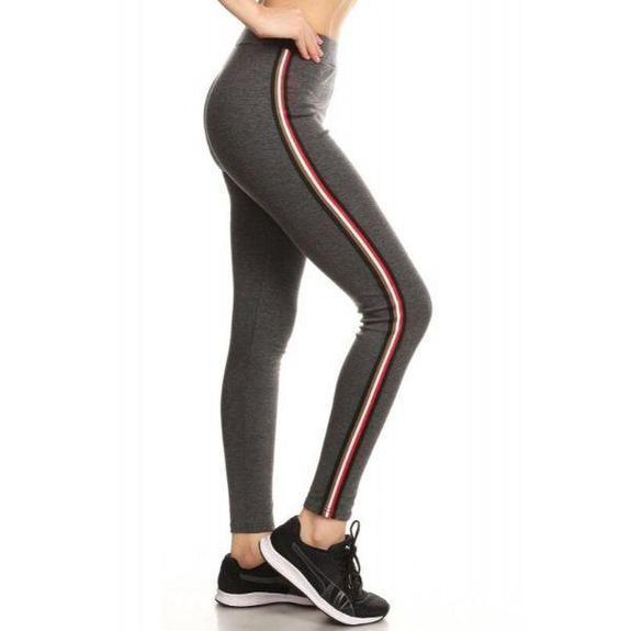 Daily Steals-Women's Cotton Blend Side Stripe Leggings-Women's Apparel-Charcoal-Style 2-Small/Medium