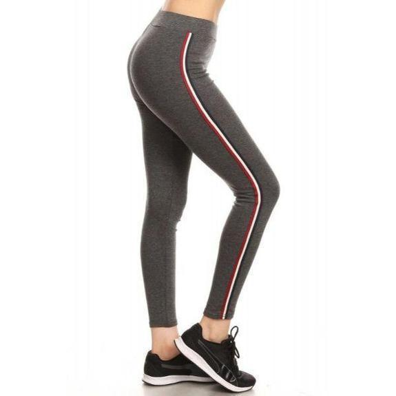 Daily Steals-Women's Cotton Blend Side Stripe Leggings-Women's Apparel-Charcoal-Style 4-Large/Extra Large