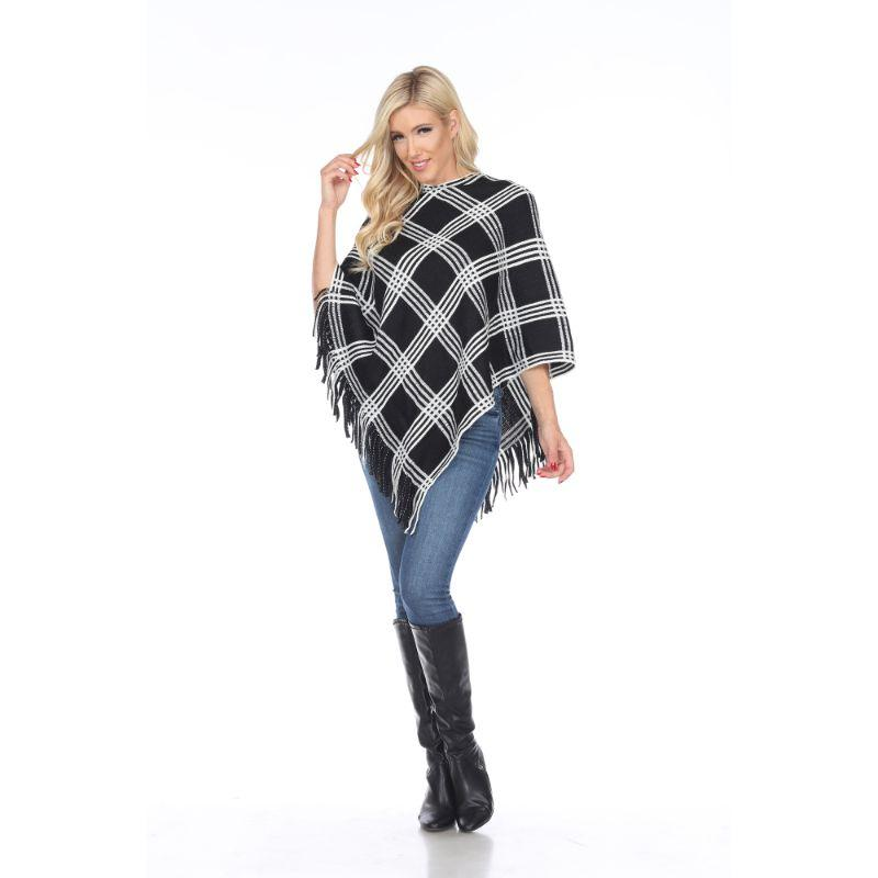 Women's Dakota Poncho By White Mark-Black Square-One Size Regular-Daily Steals