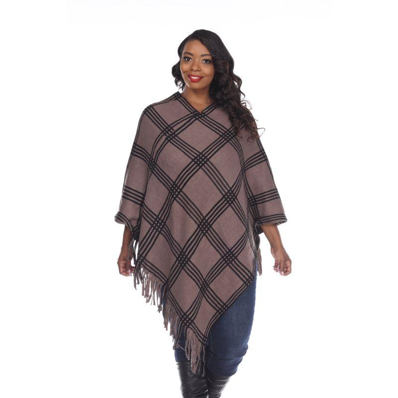 Women's Dakota Poncho By White Mark-Brown Square-One Size Plus Size-Daily Steals