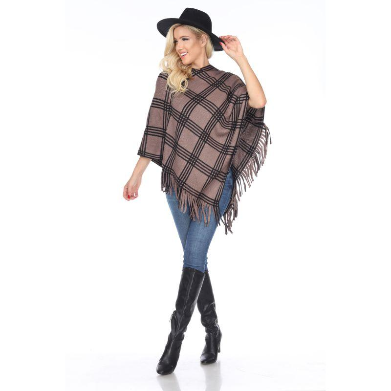Women's Dakota Poncho By White Mark-Brown Square-One Size Regular-Daily Steals