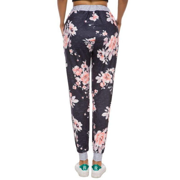 Women's Drawstring Floral Jogger-Daily Steals