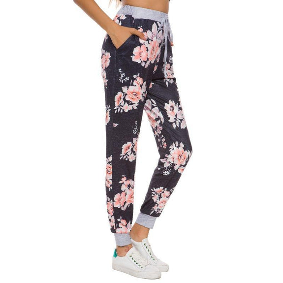 Women's Drawstring Floral Jogger-Black-Small-Daily Steals
