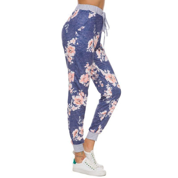 Women's Drawstring Floral Jogger-Blue-2Xl-Daily Steals