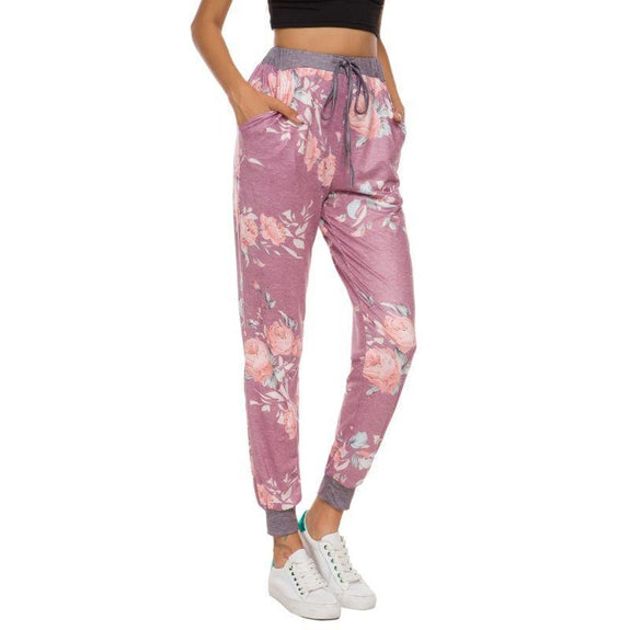 Women's Drawstring Floral Jogger-Burgundy-2Xl-Daily Steals