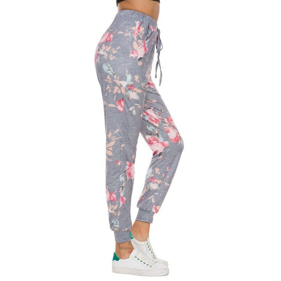 Women's Drawstring Floral Jogger-Grey-2XL-Daily Steals