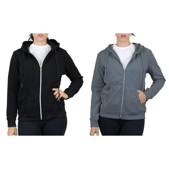 Women's Fleece-Lined Zip Hoodie - 2 Pack-Black & Charcoal-Small-Daily Steals