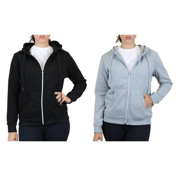 Women's Fleece-Lined Zip Hoodie - 2 Pack-Black & Heather Grey-Medium-Daily Steals