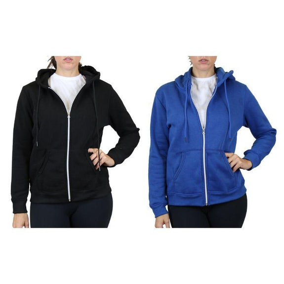 Women's Fleece-Lined Zip Hoodie - 2 Pack-Black & Medium Blue-Medium-Daily Steals
