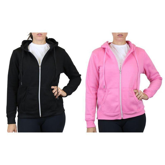 Women's Fleece-Lined Zip Hoodie - 2 Pack-Black & Pink-Large-Daily Steals
