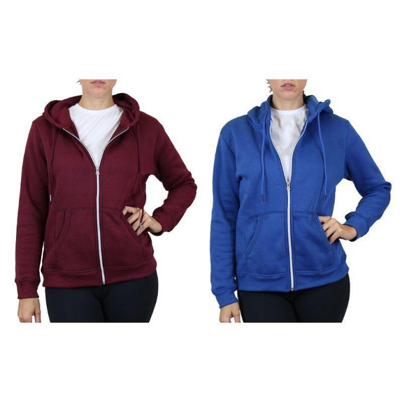 Women's Fleece-Lined Zip Hoodie - 2 Pack-Burgundy & Medium Blue-Small-Daily Steals