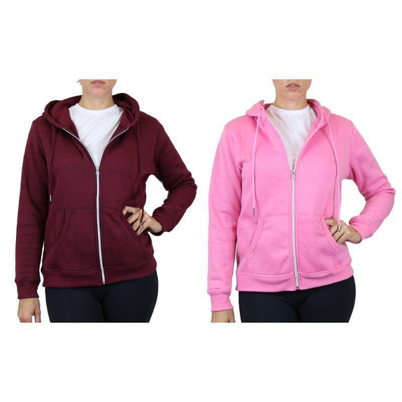 Women's Fleece-Lined Zip Hoodie - 2 Pack-Burgundy & Pink-Medium-Daily Steals