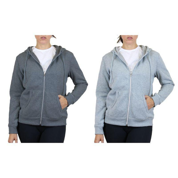 Women's Fleece-Lined Zip Hoodie - 2 Pack-Charcoal & Heather Grey-Small-Daily Steals