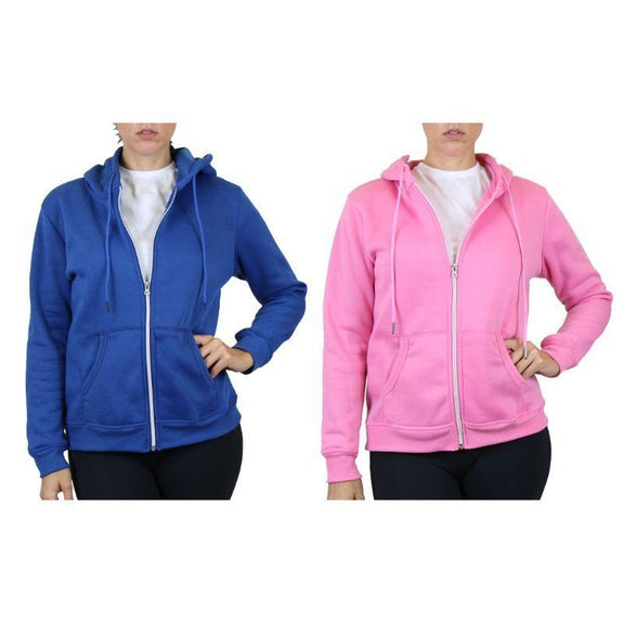Women's Fleece-Lined Zip Hoodie - 2 Pack-Medium Blue & Pink-Large-Daily Steals