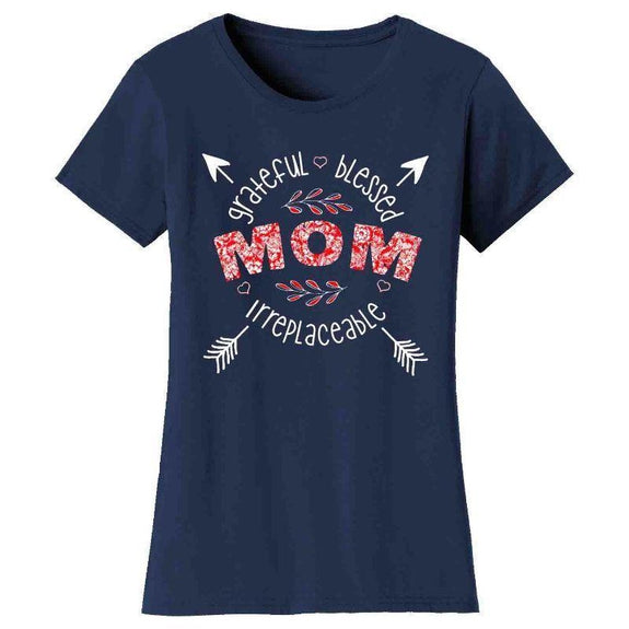 Women's Floral Grateful Blessed Irreplaceable Mother's Day T-Shirt-Navy-Mom-M
