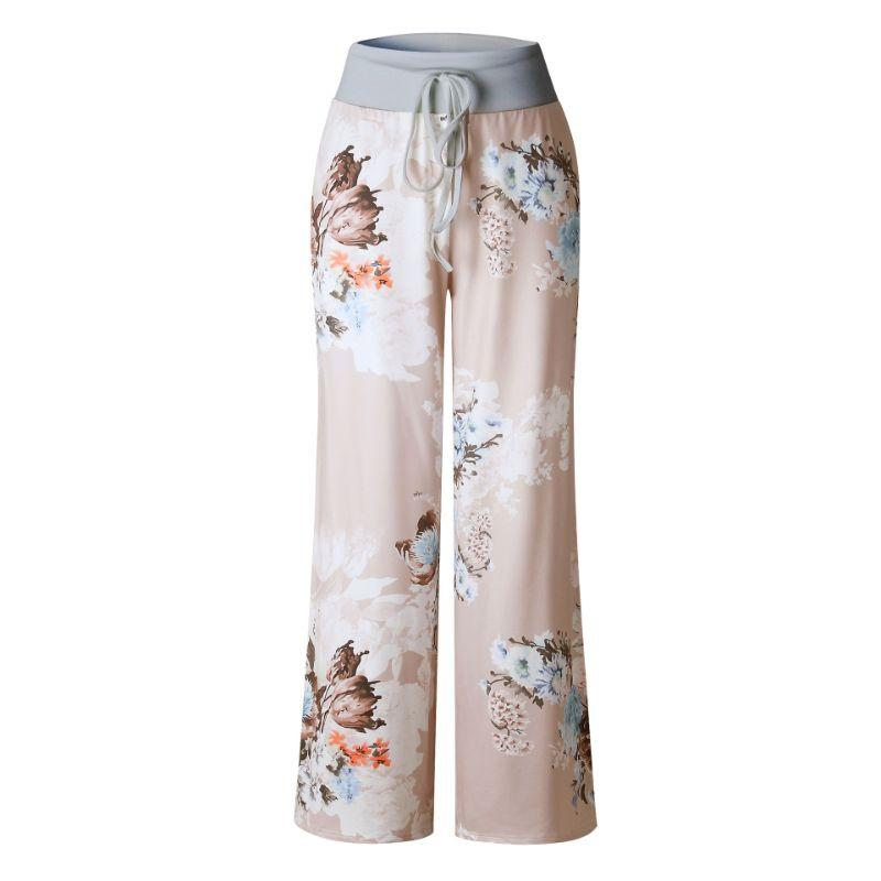 Women's Floral Pants with White Waist by Lily Posh-Beige-2XL-Daily Steals