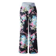 Women's Floral Pants with White Waist by Lily Posh-Black-XL-Daily Steals