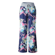 Women's Floral Pants with White Waist by Lily Posh-Blue-2XL-Daily Steals