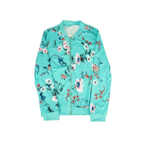 Women's Floral-Patterned Jacket-Teal-Medium (2-4)-Daily Steals