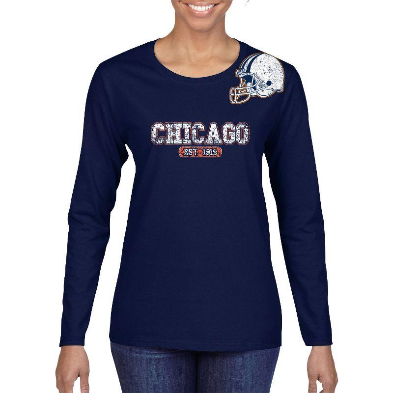 Women's Football Helmet Long Sleeve Shirts-M-Chicago - Navy-Daily Steals