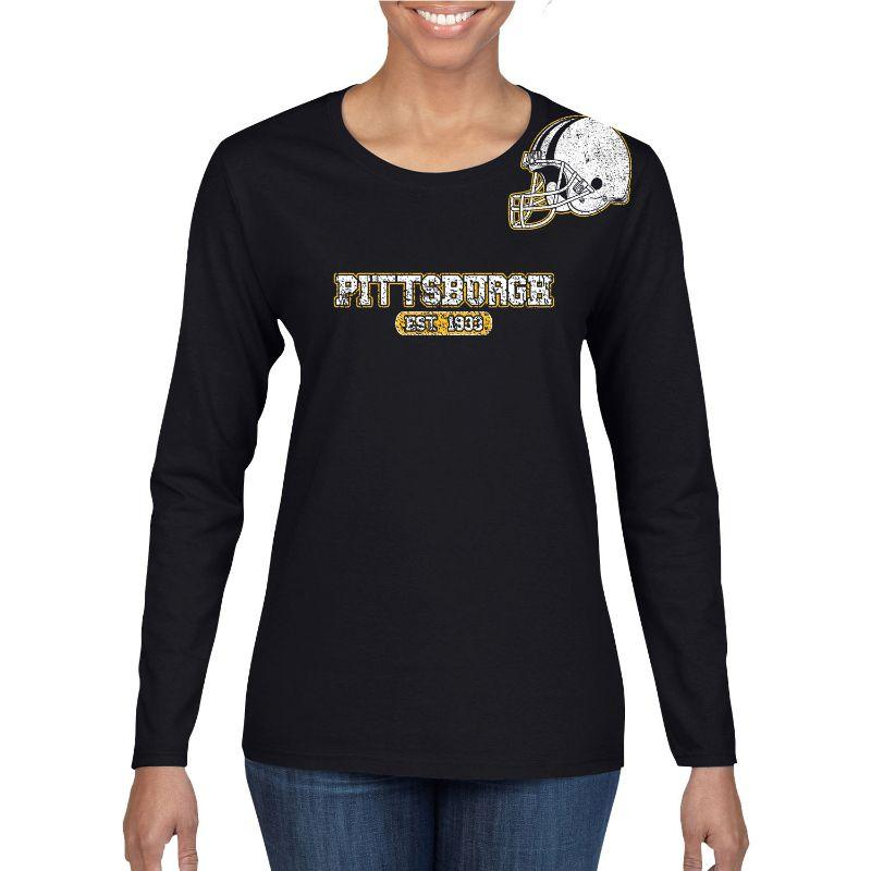Women's Football Helmet Long Sleeve Shirts-M-Pittsburgh - Black-Daily Steals