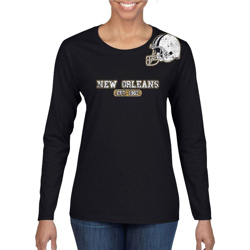 Women's Football Helmet Long Sleeve Shirts-S-New Orleans - Black-Daily Steals
