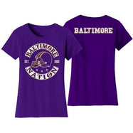 Women's Football Nation T-Shirts-L-Baltimore-