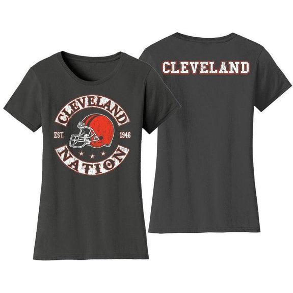 Women's Football Nation T-Shirts-S-Cleveland-