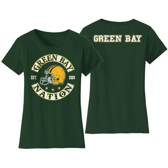Women's Football Nation T-Shirts-S-Green Bay-
