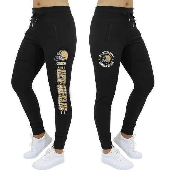 Women's Football Stripes Joggers-Black-New Orleans-M